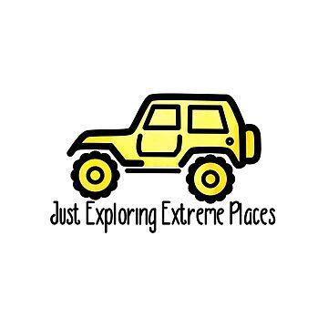 Gelber Jeep, der gerade extreme Plätze erforscht von its-anna