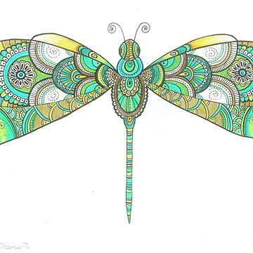 Original Dragonfly illustration drawing Painting, OOAK Art by DhanaART