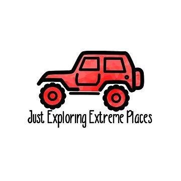 Roter Jeep, der gerade extreme Plätze erforscht von its-anna