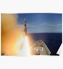 The guided-missile cruiser USS Lake Erie fires a Standard Missile. Poster