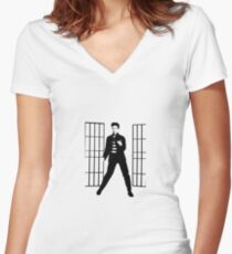 elvis jailhouse  Women's Fitted V-Neck T-Shirt