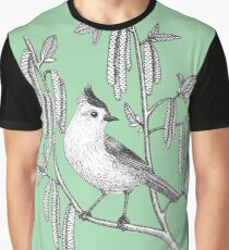 tufted titmouse on catskins on green background Graphic T-Shirt