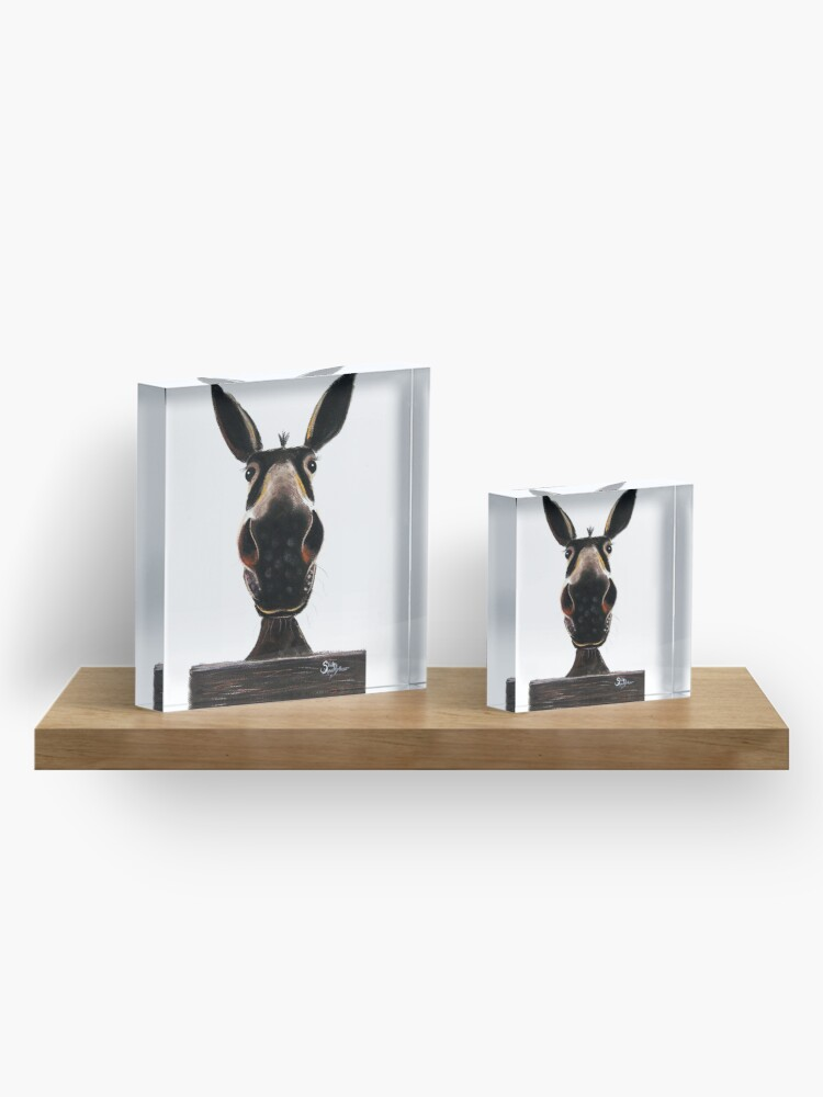 Alternate view of HAPPY DONKEY ' DEIRDRE DONKEY' BY SHIRLEY MACARTHUR Acrylic Block