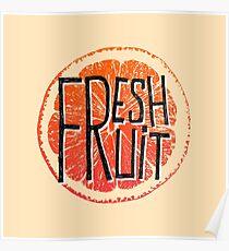 Orange fresh fruit illustration Poster