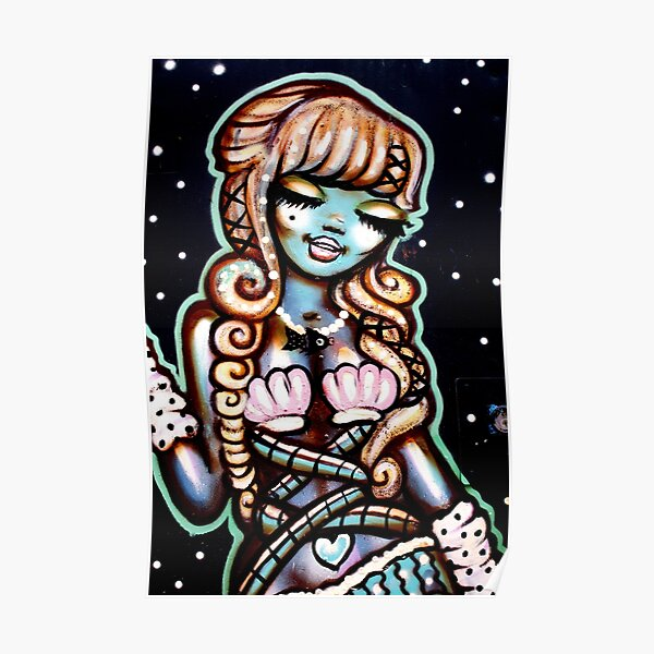 Street Art - The Happy Mermaid Poster