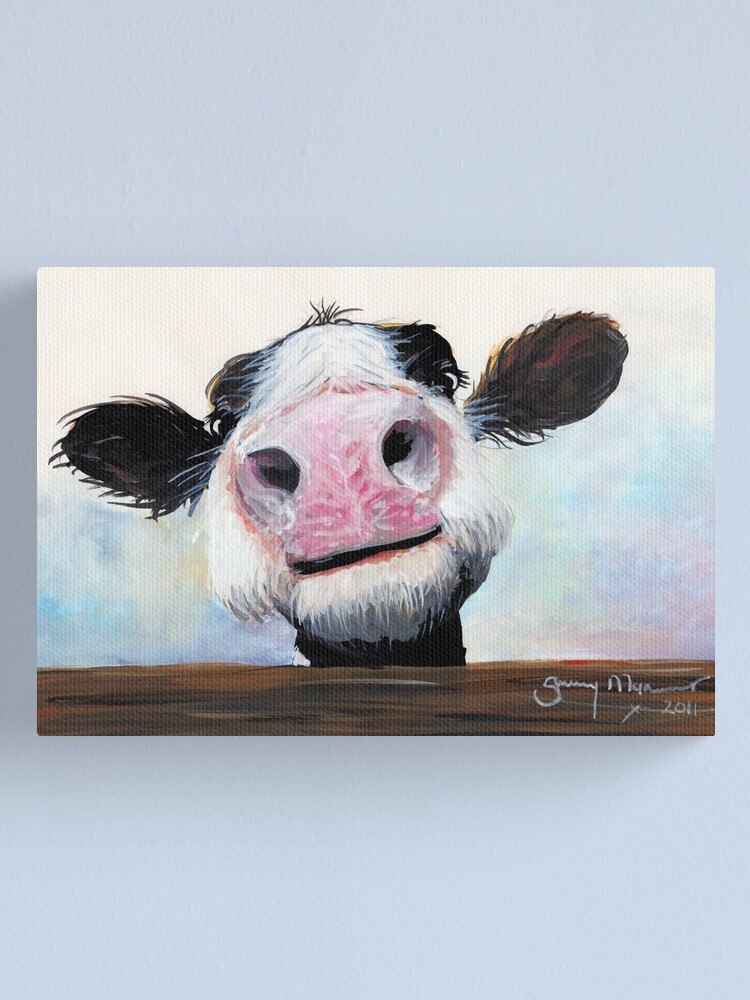 Alternate view of NOSEY COW 'HEY! HOW'S IT GOIN'?' BY SHIRLEY MACARTHUR Canvas Print