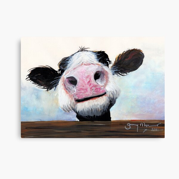 NOSEY COW 'HEY! HOW'S IT GOIN'?' BY SHIRLEY MACARTHUR Canvas Print