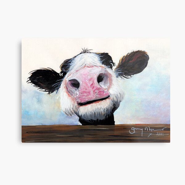 NOSEY COW 'HEY! HOW'S IT GOIN'?' BY SHIRLEY MACARTHUR Metal Print