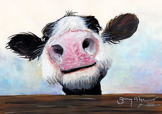 NOSEY COW 'HEY! HOW'S IT GOIN'?' BY SHIRLEY MACARTHUR by Shirley MacArthur