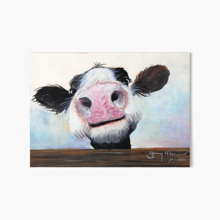 NOSEY COW 'HEY! HOW'S IT GOIN'?' BY SHIRLEY MACARTHUR Art Board Print