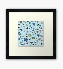 pattern with multicolored wildflowers Framed Print
