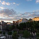 Sunrise Sunlight at Plaza de Santa Ana Madrid Spain by Georgia Mizuleva