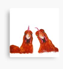 HAPPY HENS 'HARRIET & HUMBUG' BY SHIRLEY MACARTHUR Canvas Print