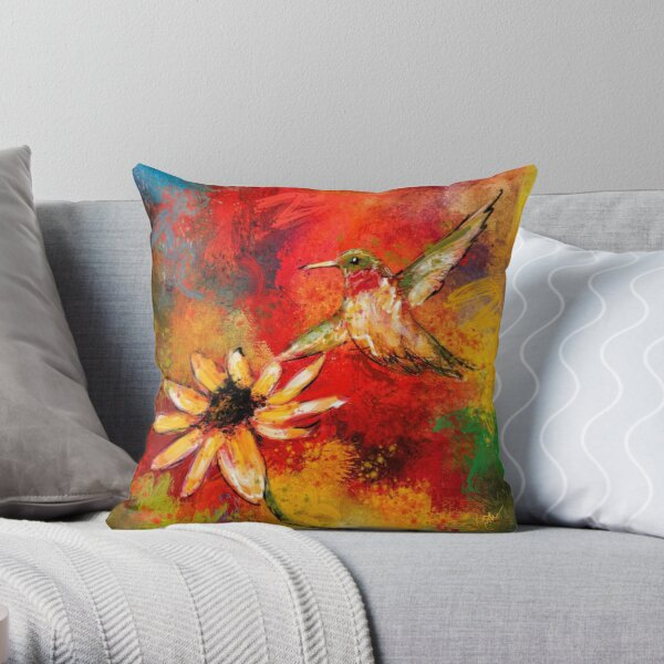 Hummingbird Energy Throw Pillow
