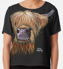 SCOTTISH HAIRY HIGHLAND COW 'HENRY' By Shirley MacArthur Chiffon Top