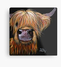 SCOTTISH HAIRY HIGHLAND COW 'HENRY' By Shirley MacArthur Metal Print