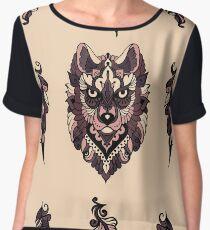 Seamless pattern with wolf  Chiffon Top