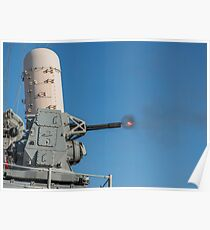 USS San Jacinto fires a close-in weapons system during a live-fire exercise. Poster