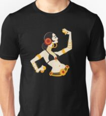 Tribal fusion belly dancer holding cymbals in impressive expressive pose.  Unisex T-Shirt