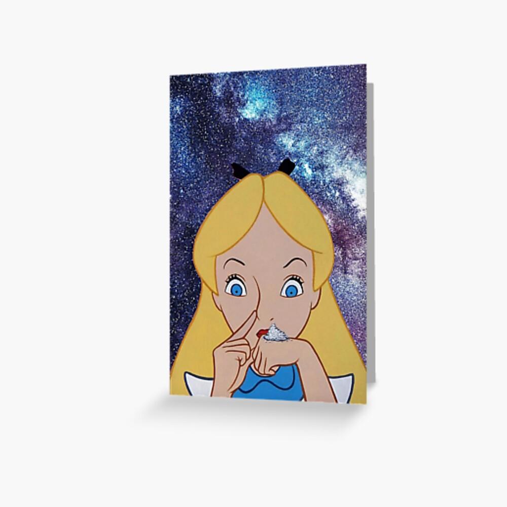 Alice im Wunderland macht einen Stoß Grußkarte
