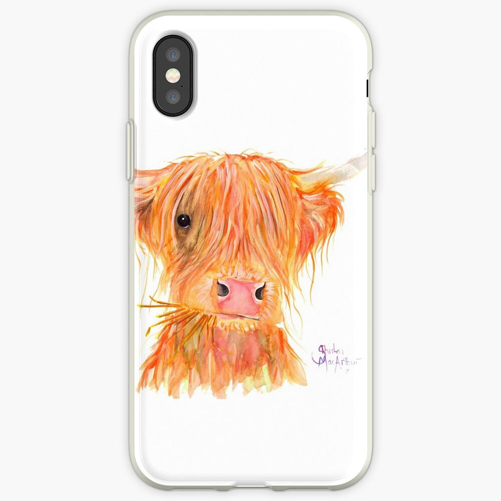 SCOTTISH HIGHLAND COW 'FERGUS' By Shirley MacArthur iPhone Case & Cover