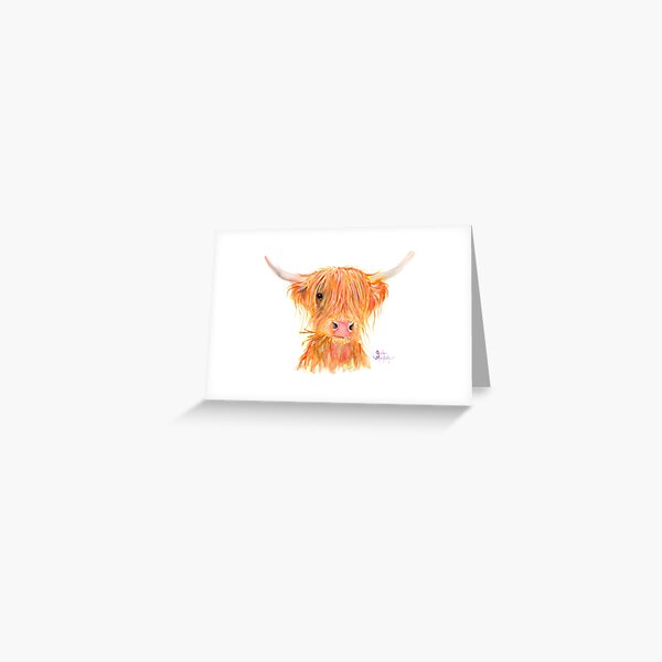 SCOTTISH HIGHLAND COW 'FERGUS' By Shirley MacArthur Greeting Card