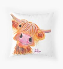 Highland Cow 'NESSIE' from Original Painting by Shirley MacArthur Throw Pillow