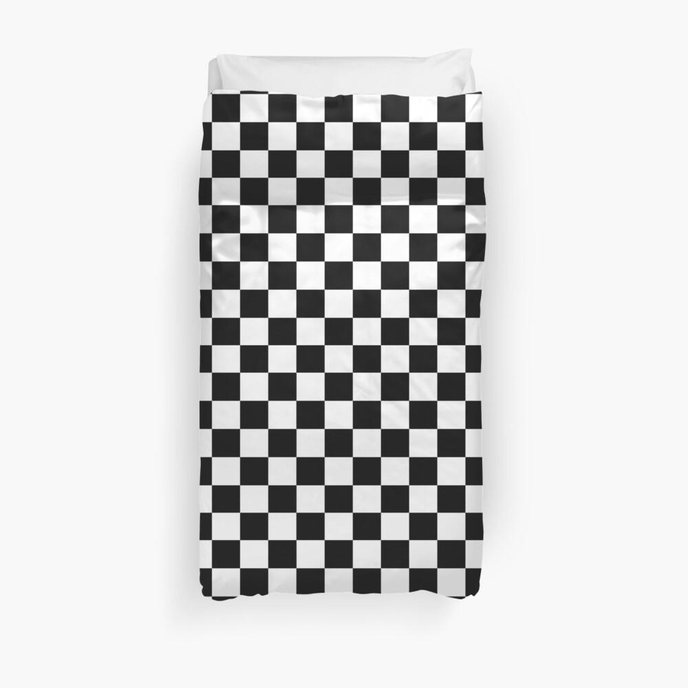 Checkered Flag. Chequered Flag. Motor Sport. Checkerboard. Pattern. WIN. WINNER.  Racing Cars. Race. Finish line. BLACK. Duvet Cover