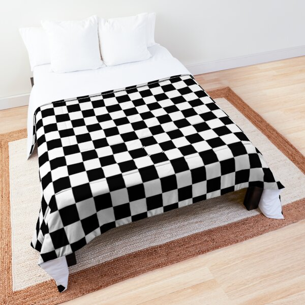 Checkered Flag. Chequered Flag. Motor Sport. Checkerboard. Pattern. WIN. WINNER.  Racing Cars. Race. Finish line. BLACK. Comforter