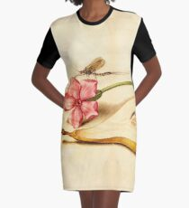 Vintage Mayfly Red Campion Pear manuscript parchment Graphic T-Shirt Dress