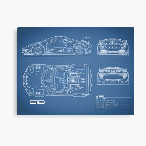 The 918 Spyder Blueprint Canvas Print