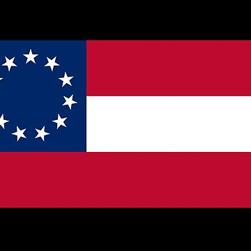 Stars & Bars, USA, America, First American National Flag, 11 stars, 1861, on BLACK by TOMSREDBUBBLE