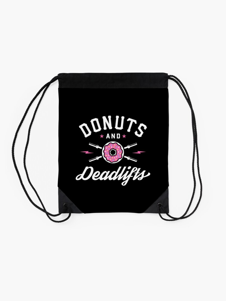 Alternate view of Donuts And Deadlifts Drawstring Bag