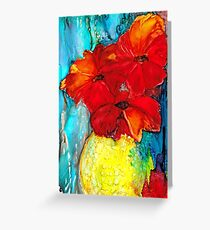 Red poppies alcohol ink painting Greeting Card