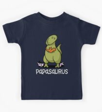 Papasaurus Future Father Dinosaur Baby Kids Tee