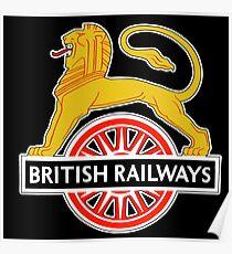 BRITISH RAILWAYS, BR, SIGN, First logo, British Railways, Cycling Lion. Poster