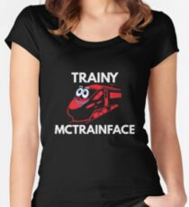 Trainy McTrainface Shirt - Funny Meme Swedish Train Shirts Women's Fitted Scoop T-Shirt