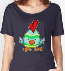 Animal Fun - Happy Chicken Striped Women's Relaxed Fit T-Shirt
