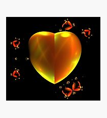 Red Gold Hearts Photographic Print