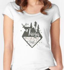 Taiga forest eco park promo sign Women's Fitted Scoop T-Shirt