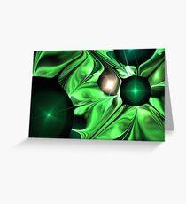 Green Flowy Swirls Greeting Card