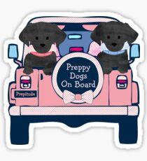 Black Lab Preppy Dogs On Board - Preppy Pink Jeep Sticker