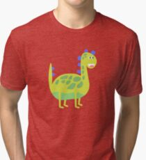Cute funny green dinosaur Tri-blend T-Shirt