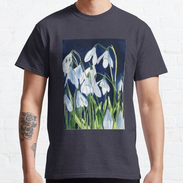 Watercolour painting of snowdrops with a dark background Classic T-Shirt