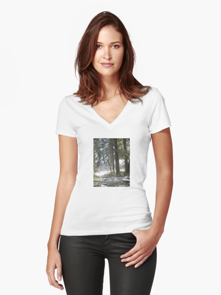 Forest Sun Rays in the  Snow #47 Women's Fitted V-Neck T-Shirt Front