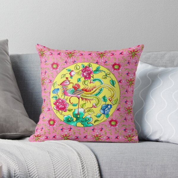 Peranakan pattern:Yellow & Pink Throw Pillow