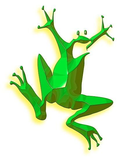 FROG, GREEN FROG, Cartoon, Jumping Jehoshaphat! Help! its the Green frog! Pond life by TOM HILL - Designer