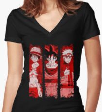THREE HEROES Women's Fitted V-Neck T-Shirt