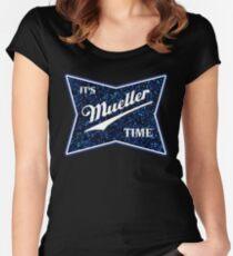 Mueller Time - Blauer Glitter Tailliertes Rundhals-Shirt