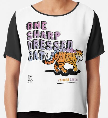 One Sharp Dressed Cat Chiffon Top